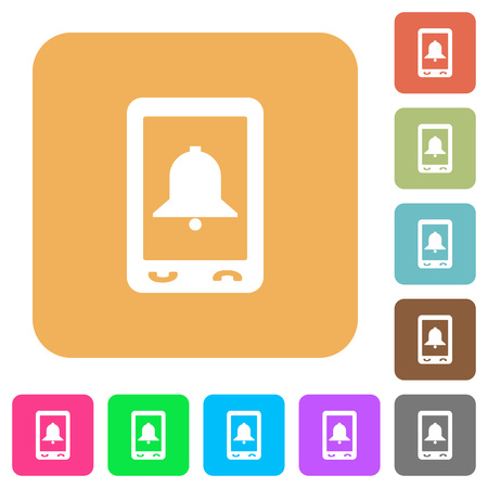 Mobile alarm flat icons on rounded square colored illustration.