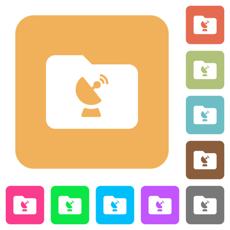 Remote folder flat icons on rounded square colored illustration.