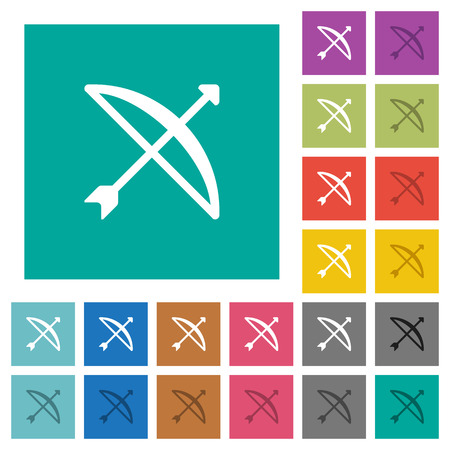 Bow with arrow multi colored flat icons on plain square illustration.