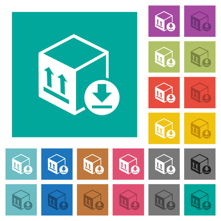 Package arrival multi colored flat icons on plain square illustration.
