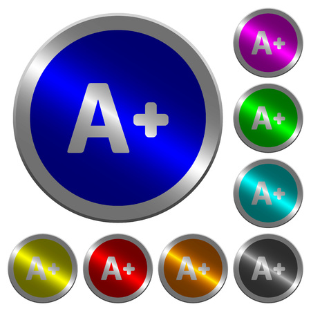 Increase font size icons on round luminous coin-like color steel illustration.