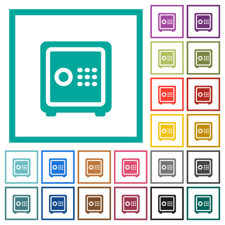 Strong box with key code flat color icons with quadrant frames on white illustration.