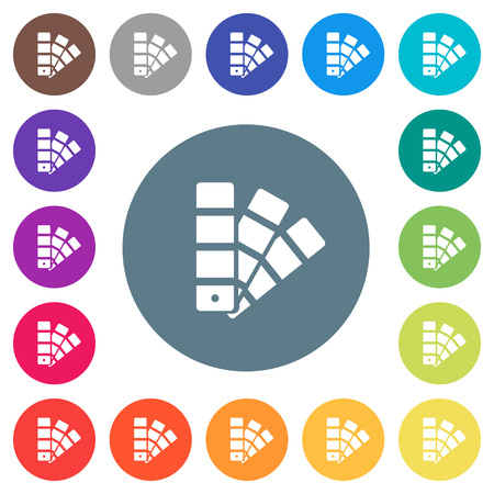 Color swatch flat white icons on round colored illustration. Ilustrace