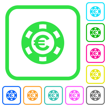 Euro casino chip vivid colored flat icons in curved borders on white illustration.