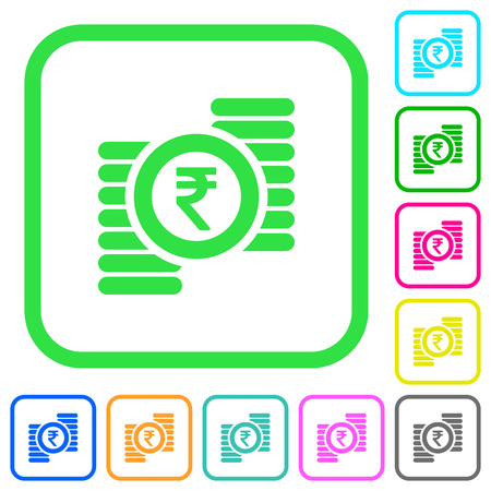Indian Rupee coins vivid colored flat icons in curved borders on white illustration.