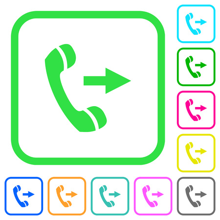 Outgoing phone call vivid colored flat icons in curved borders on white illustration.