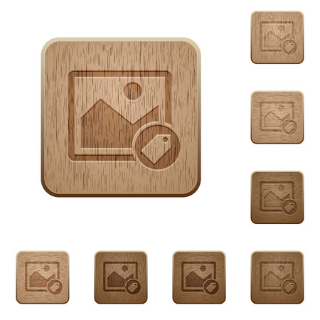 Image tagging on rounded square carved wooden button styles. Illustration