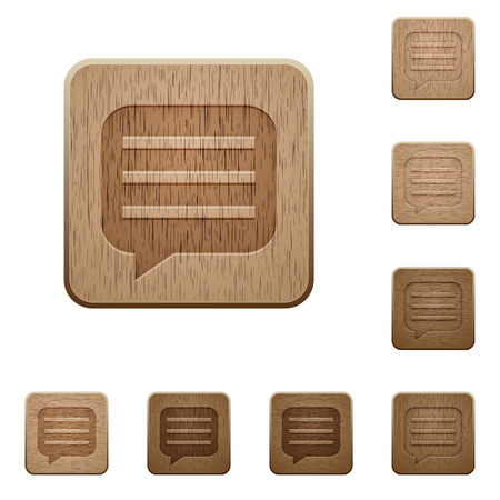 Message box with rows on rounded square carved wooden button styles.