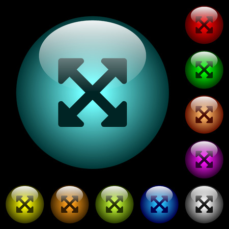 Resize full alt icons in color illuminated spherical glass buttons on black background. Can be used to black or dark templates.
