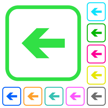 Left arrow vivid colored flat icons in curved borders on white background. Illustration