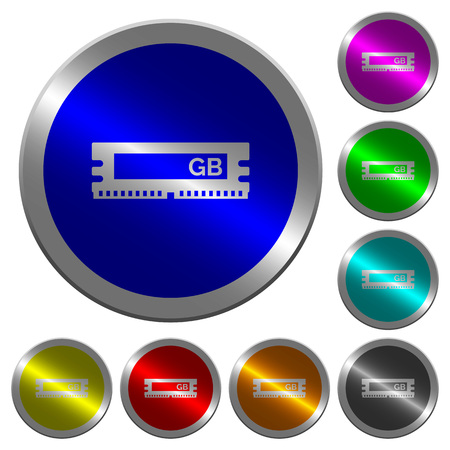 RAM memory module icons on round luminous coin-like color steel buttons. Illustration