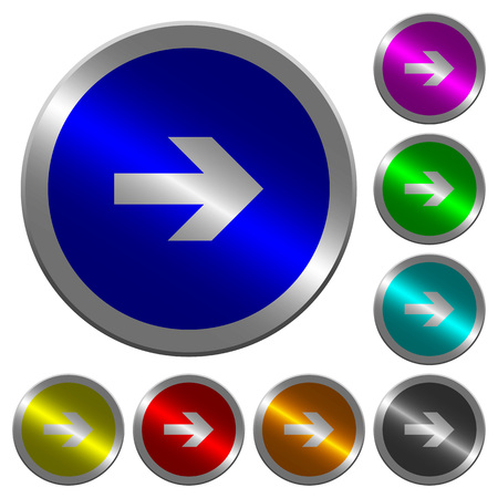 Right arrow icons on round luminous coin-like color steel buttons.