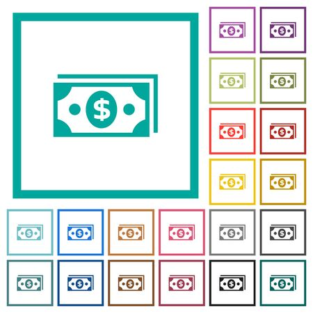 Dollar banknotes flat color icons with quadrant frames on white background.