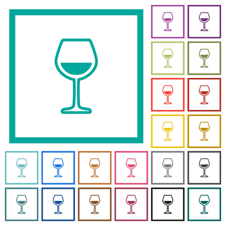 Glass of wine flat color icons with quadrant frames on white background.