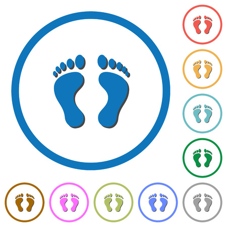 Human footprints flat color vector icons with shadows in round outlines on white background.