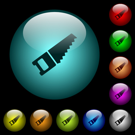 Hand saw icons in color illuminated spherical glass buttons on black background. Can be used to black or dark templates