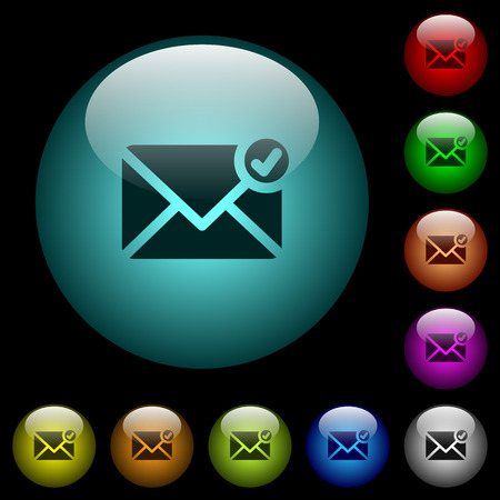 Mail sent icons in color illuminated spherical glass buttons on black background. Can be used to black or dark templates