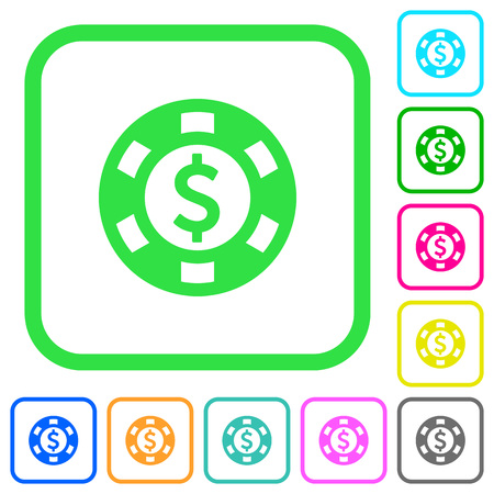 Dollar casino chip vivid colored flat icons in curved borders on white background