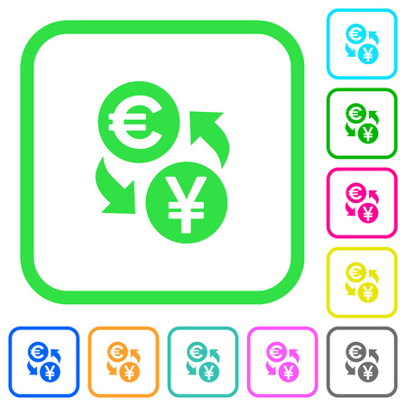 Euro Yen money exchange vivid colored flat icons in curved borders on white background