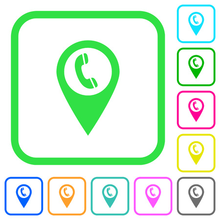Call box GPS map location vivid colored flat icons in curved borders on white background