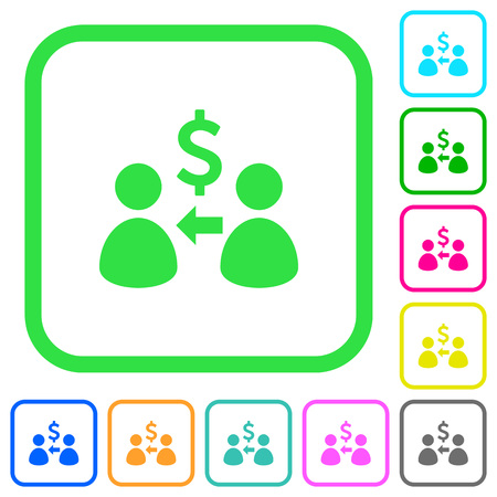 Receive Dollars vivid colored flat icons in curved borders on white background