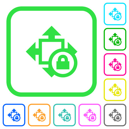 Size lock vivid colored flat icons in curved borders on white background