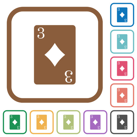 Three of diamonds card simple icons in color rounded square frames on white background Illustration