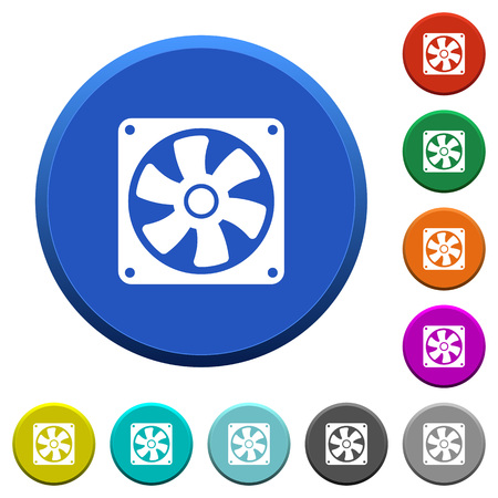 Computer fan round color beveled buttons with smooth surfaces and flat white icons