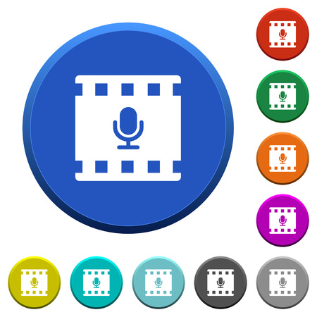 Movie voice round color beveled buttons with smooth surfaces and flat white icons