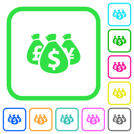 Money bags vivid colored flat icons in curved borders on white background