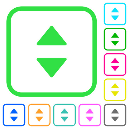 Vertical control arrows vivid colored flat icons in curved borders on white background