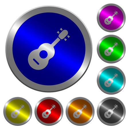 Acoustic guitar icons on round luminous coin-like color steel buttons