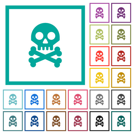 Skull with bones flat color icons with quadrant frames on white background Ilustrace