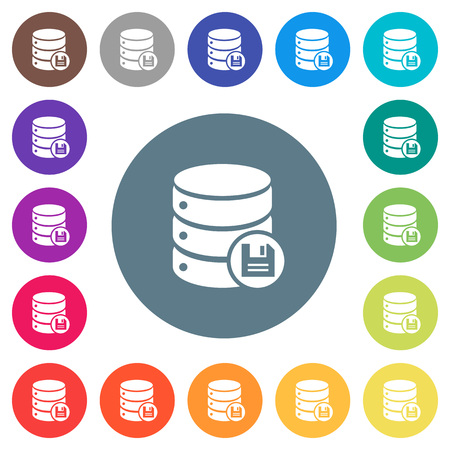 Database save flat white icons on round color backgrounds. 17 background color variations are included. Ilustração