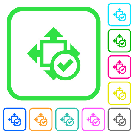 Accept size vivid colored flat icons in curved borders on white background