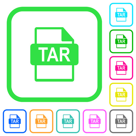TAR file format vivid colored flat icons in curved borders on white background Иллюстрация