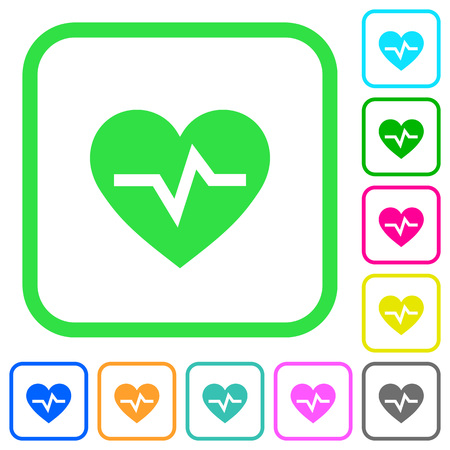 Heartbeat vivid colored flat icons in curved borders on white background Illustration