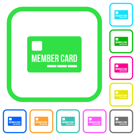 Member card vivid colored flat icons in curved borders on white background