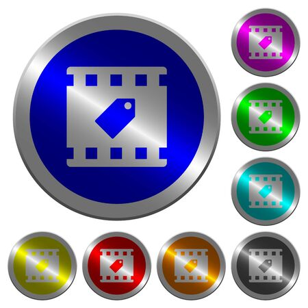 Tag movie icons on round luminous coin-like color steel buttons Illustration