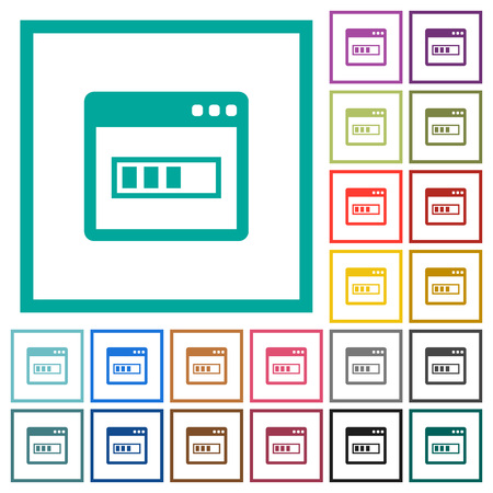 Application installing flat color icons with quadrant frames on white background
