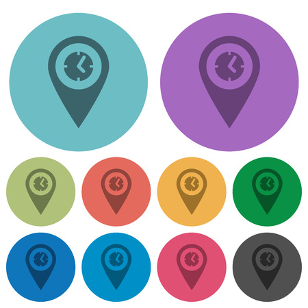 Arrival time GPS map location darker flat icons on color round background. Illustration