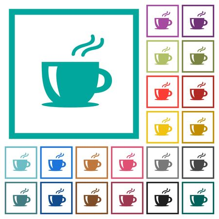 Cappuccino flat color icons with quadrant frames on white background Stock Illustratie