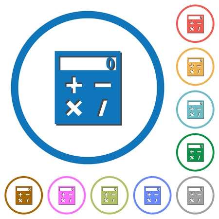 Pocket calculator flat color vector icons with shadows in round outlines on white background Illustration