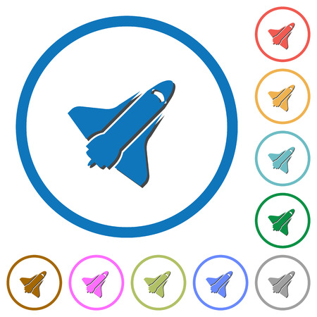 Space shuttle flat color vector icons with shadows in round outlines on white background