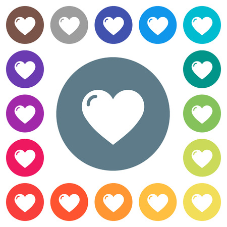 Heart shape flat white icons on round color backgrounds, color variations are included.