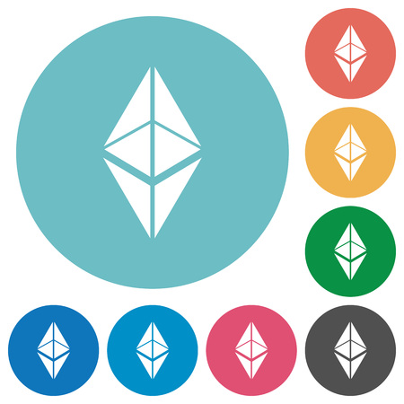 Ethereum classic digital cryptocurrency flat white icons on round color backgrounds Illustration