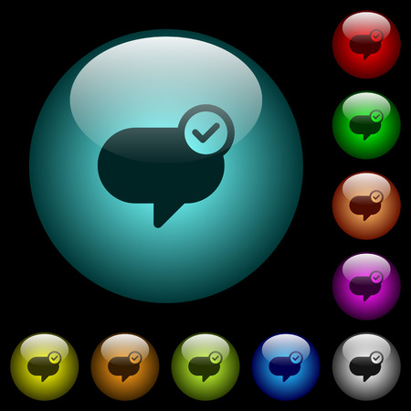 Message sent icons in color illuminated spherical glass buttons on black background. Can be used to black or dark templates