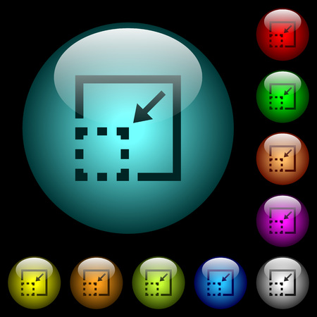 Minimize element icons in color illuminated spherical glass buttons on black background. Can be used to black or dark templates