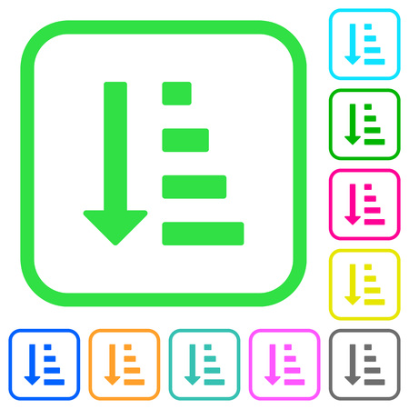 Ascending ordered list mode vivid colored flat icons in curved borders on white background