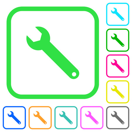 Single wrench vivid colored flat icons in curved borders on white background